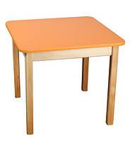 Детский Стол деревянный оранжевый c квадратной столешницей. F41