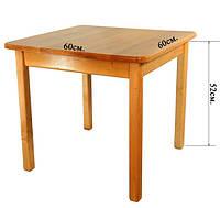 Детский Стол деревянный c квадратной столешницей. F45