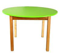Детский Стол деревянный салатовый c круглой столешницей. F47