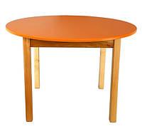 Детский Стол деревянный оранжевый c круглой столешницей. F48