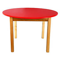 Стол детский деревянный красный c круглой столешницей. F50