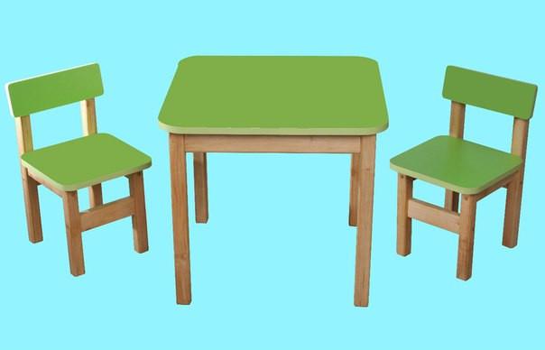 Детский Эко набор стол и два стульчика салатовый. F60