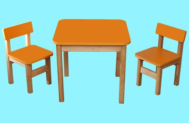 Детский Эко набор стол и два стульчика оранжевый. F61