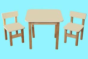 Детский Эко набор стол и два стульчика ваниль. F62
