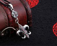 Серебряный кулон подвеска Королевская Лилия и Крест Chrome Hearts