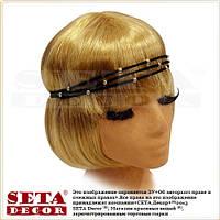 Повязка-резинка Шарики (золотистый цвет) на голову для причёски в греческом стиле (для волос)