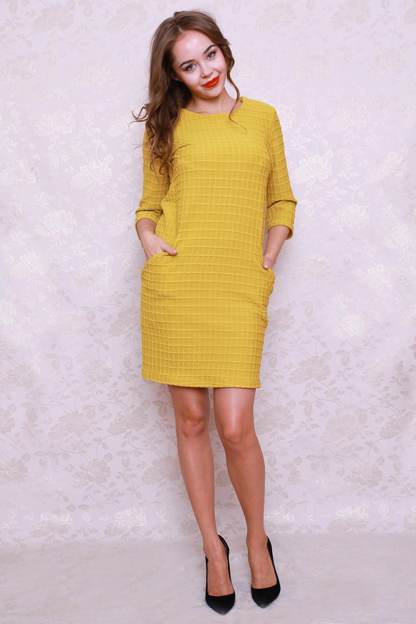 f20e9fbe095b Молодежное платье в горчичном цвете с накладными карманами -  Оптово-розничный магазин одежды