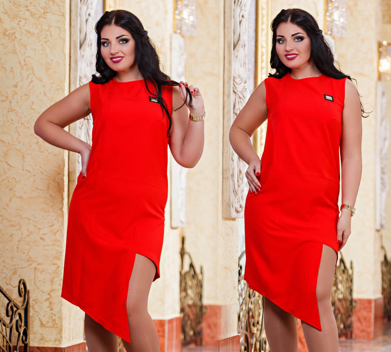 Д1043 Платье ассиметрия размеры 48-54 Красный