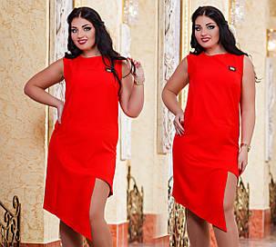 Д1043 Платье ассиметрия размеры 48-54 Красный, фото 2
