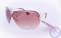 Оптом женские солнцезащитные очки-маска - Золотистые - 7120, фото 1