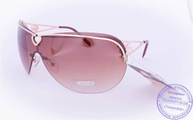 Оптом женские солнцезащитные очки-маска - Золотистые - 7120, фото 2