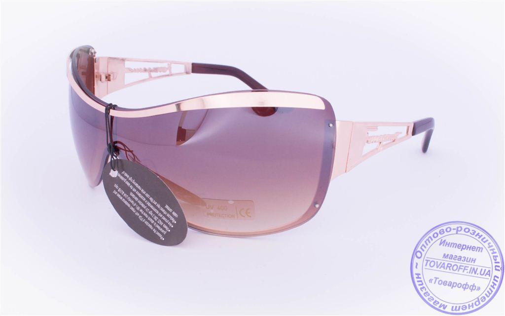 Оптом женские солнцезащитные очки-маска - Золотистые - 8024