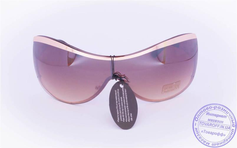 Оптом женские солнцезащитные очки-маска - Золотистые - 8024, фото 2