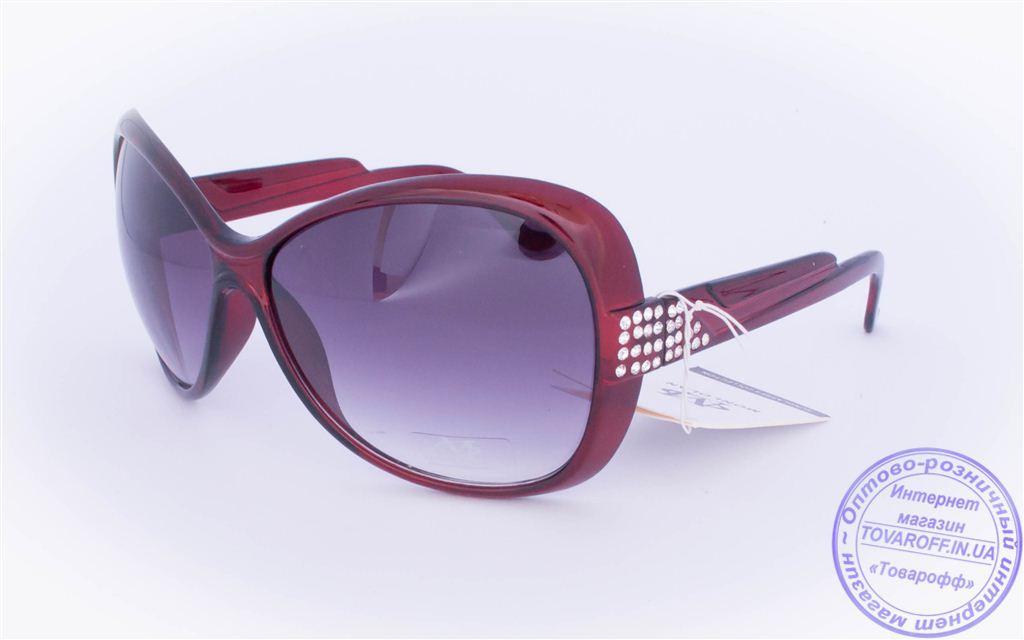 Оптом женские солнцезащитные очки - Бордовые - 3201