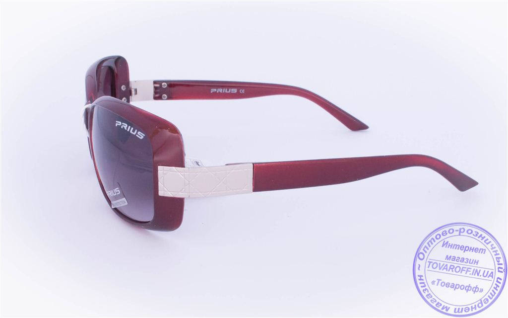 Оптом женские солнцезащитные очки - Бордовые - 3502, фото 2