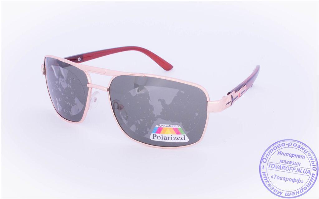 Оптом мужские поляризационные  солнцезащитные очки - Золотистые - 8956