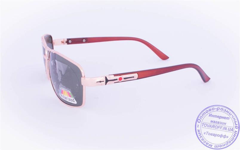 Оптом мужские поляризационные  солнцезащитные очки - Золотистые - 8956, фото 2