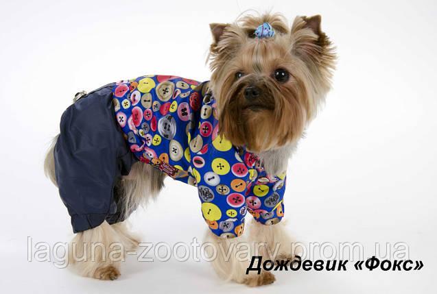 Дождевик ФОКС  XS 23-26/28-32см для собак, цвет - красный/зеленый, фото 2