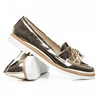 Женские золотистые лакированные туфли с кисточками на низком ходу