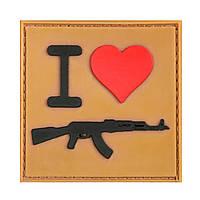 "Шеврон резиновый ""I LOVE AK"" на липучке"
