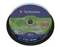 Диск VERBATIM CD-RW 700Mb 12x Cake 10шт. 43480
