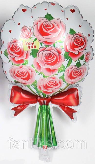 """Фольгированный  шар """"Букет роз""""-красный"""