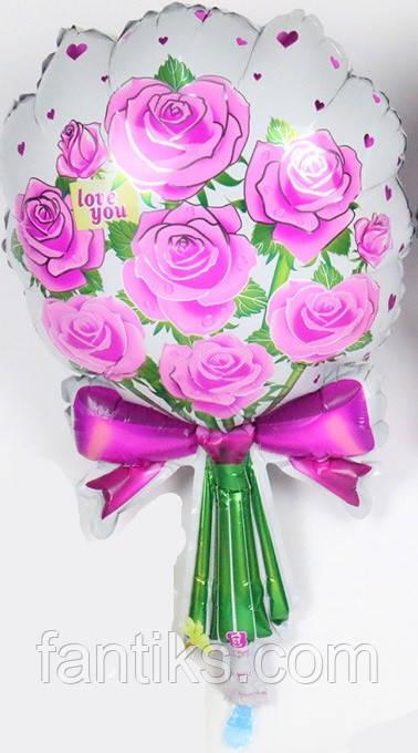 """Фольгированный воздушный шар """"Букет""""-розовый"""