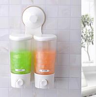 Двойной диспенсер для жидкого мыла с дозатором Double Soap Dispenser Super Suction