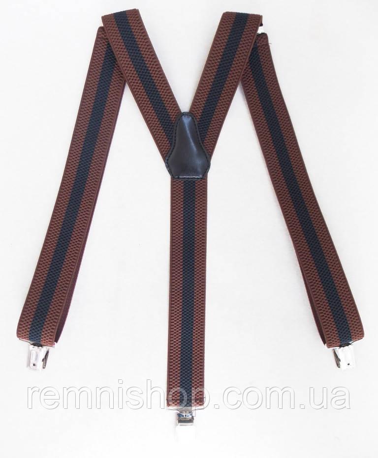 Мужские подтяжки черно-коричневые