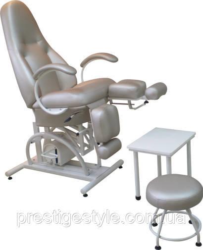 Педикюрно-косметологическое кресло КП-5 с гидравлическим регулятором высоты, с подставкой для ванночки