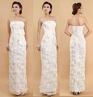 Свадебное платье с цветочным принтом и пайетками. Белое.