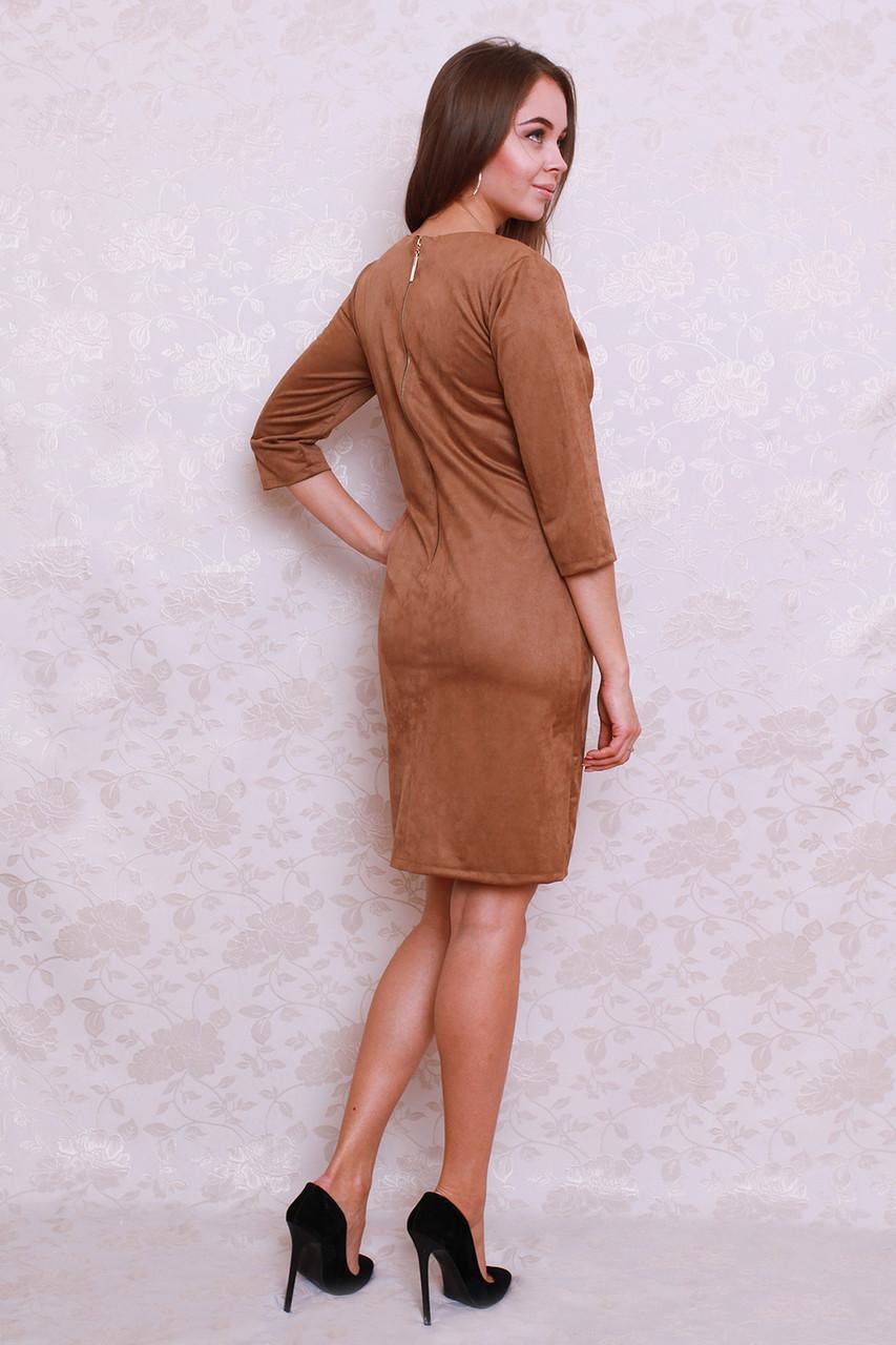 4b24fce7dda Прекрасное замшевое платье с кармашками прямого кроя по спинке вшит  золотистый замок