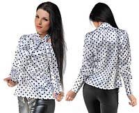 Рубашка однотонная либо в горошек из стрейч атласа 3 цвета