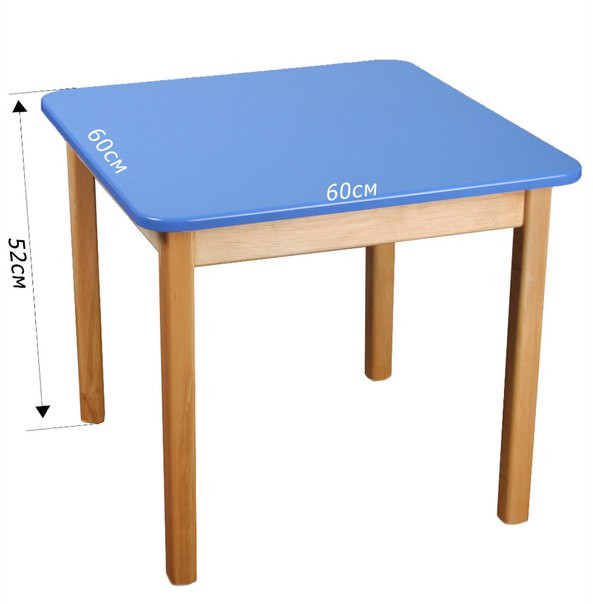 Стол детский деревянный синий c квадратной столешницей. F44