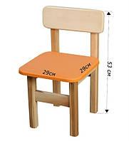 Детский Стульчик деревянный оранжевый. F32
