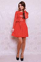 Вечерне платье из турецкого трикотажа с широким кожаным поясом