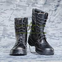 Берцы зимние Гвардия кожа черная цигейка, фото 1