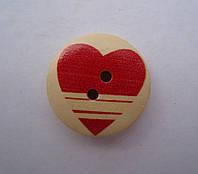 Пуговица деревянная, сердце