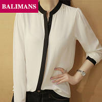 Шифоновая бела блузка с черной окантовкой, фото 1