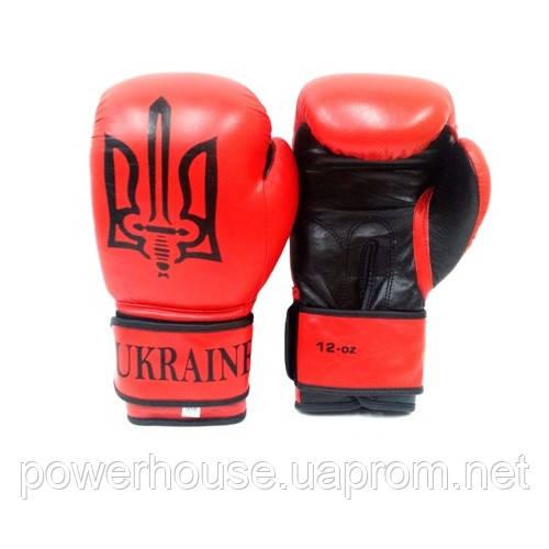 Боксерские перчатки Tryzub Ukraine Red (Кожаные)