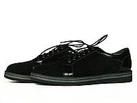 Мужские туфли из черной замши и кожи с лаковым блеском