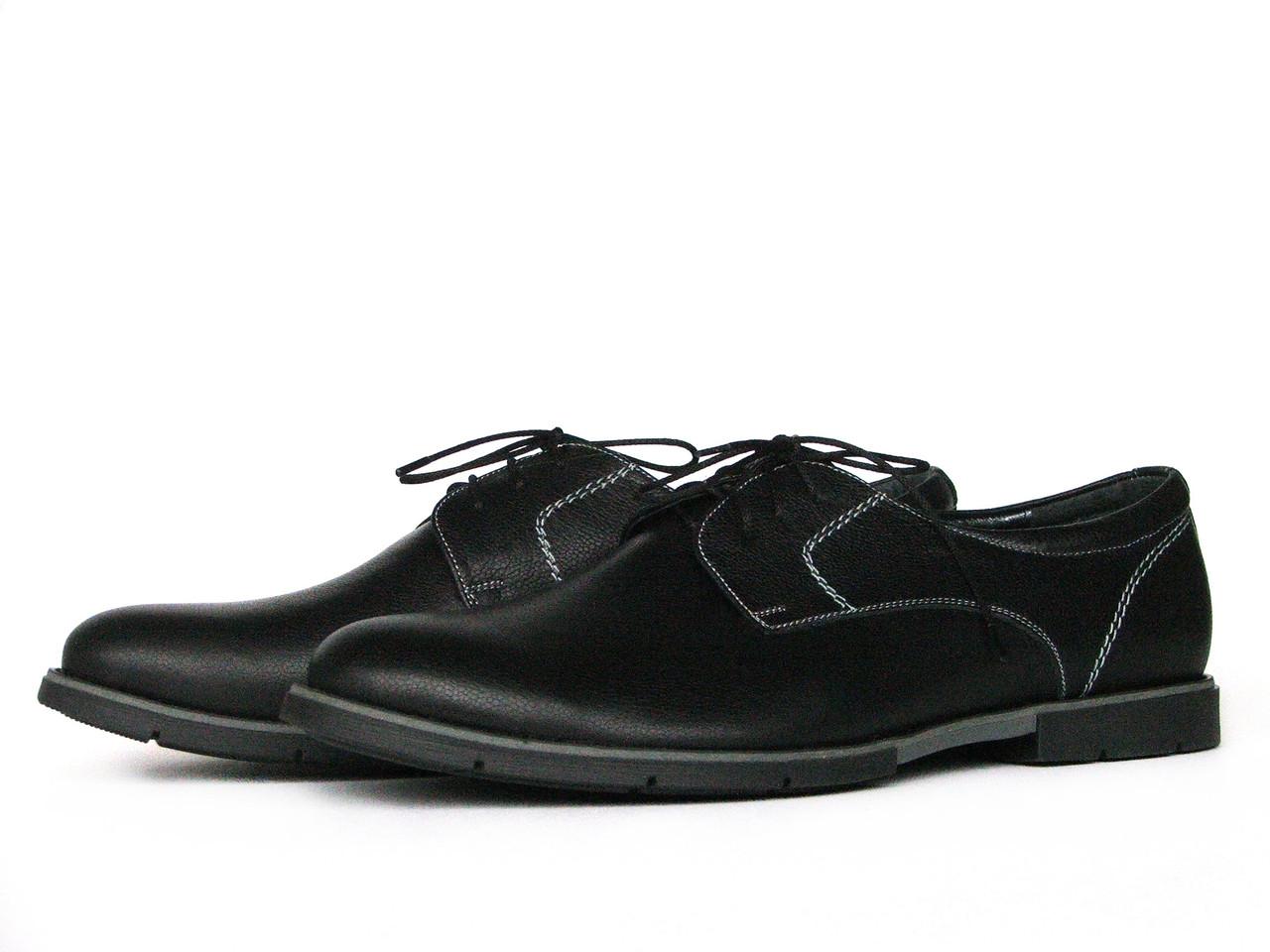 Мужские кожаные черные туфли с контрастной строчкой