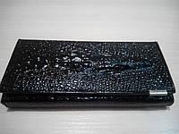 Кожаный кошелек Крокодил, черный, фото 1