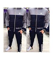 Мужской спортивный костюм Адидас серый (зауженные штаны)