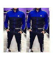 Мужской спортивный костюм Адидас синий  (зауженные штаны)