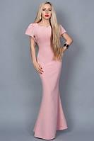 Платье длинное в пол со шлейфом нежно-розовое