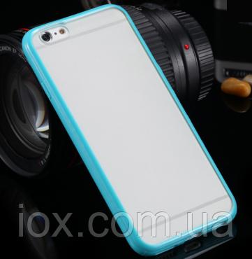 Бирюзовый пластиково-силиконовый чехол-бампер  для Iphone 6/6S