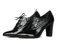 Черные кожаные с лаковым блеском ботильоны со шнуровкой, фото 1