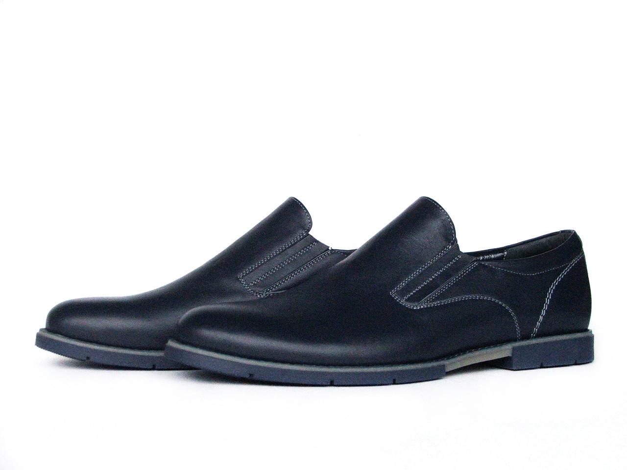 Мужские кожаные темно-синие туфли
