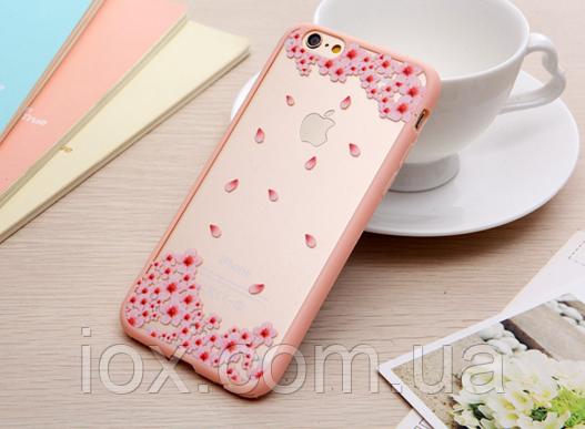 """Защитный комбинированный чехол-бампер """"Розовые цветы"""" для Iphone 6/6S"""